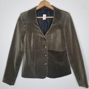 Courtenay Olive Green Velvet Blazer Size 6